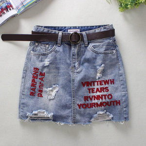 2018 Summer Light Blue Jeans Skirts Womens Letter Embroidery Skinny Pencil Skirtsliilgal-liilgal