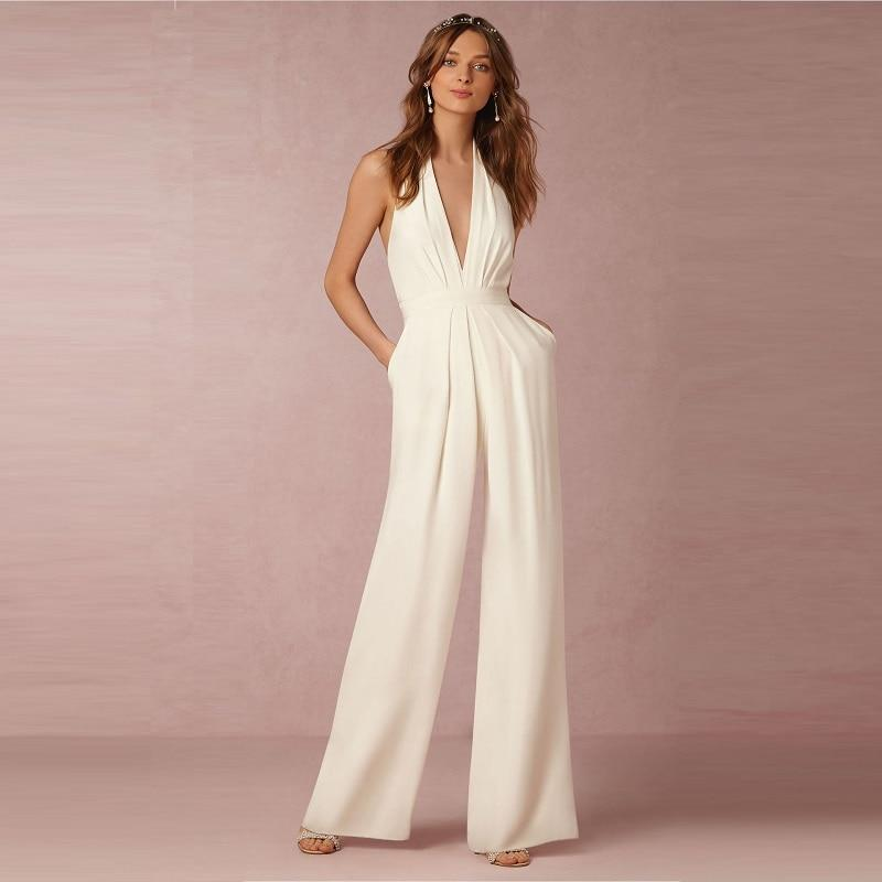 Backless v neck halter wide leg combinaison femme jumpsuit Woman elegant combinationliilgal-liilgal