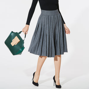Women Pleated A-Line Skirts Elegant Office Lady High Waist Skirt Big Sizeliilgal-liilgal