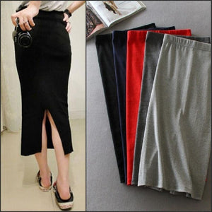Korean Women Long Skirts High Waist Slim Thin Slit Skirt Saia Longaliilgal-liilgal