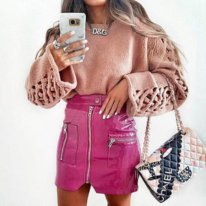 2018 Women Faux Leathe Skirts Pink Button Front Zipper Winter Fashion Sexyliilgal-liilgal