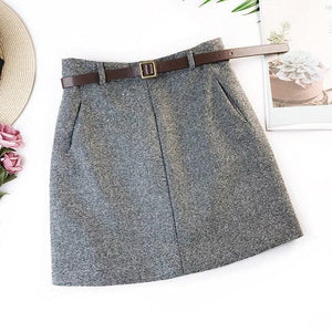 Woolen skirt retro temperament high waist A word skirt bottom skirt bagliilgal-liilgal
