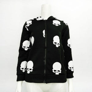 Autumn Product Women's Skull Zipper Sweater Hooded Cardigan Casual Hoodies Jacket Coatliilgal-liilgal