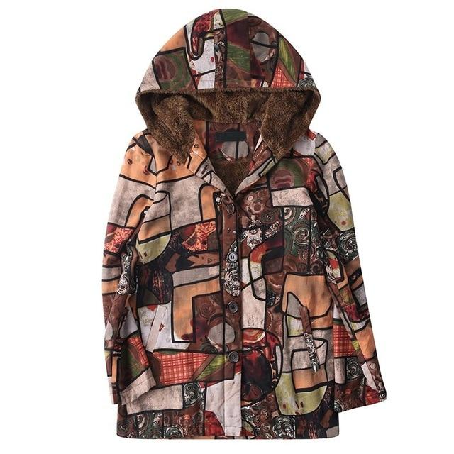 New Long Sleeve Button Open Front Hooded Jacket Abstract Print Colorfulliilgal-liilgal