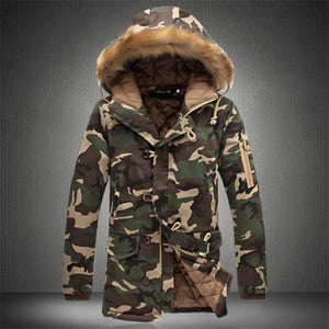 Fashion Camouflage Parkas Mens Military Medium-long Winter Coat Thickening Cotton-padded Winter Jacketliilgal-liilgal
