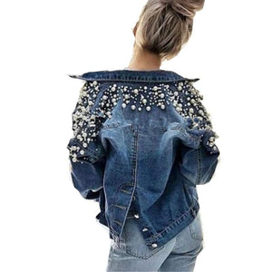 Nail Bead Short Long Sleeve Denim Jacket Women Autumn Spring Tops 2018liilgal-liilgal