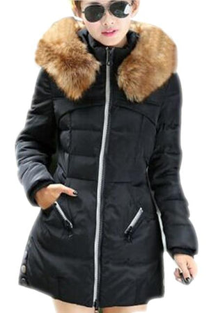 SYB 2016 NEW Women Casual Winter Slim Thick Long Down Jacket Furliilgal-liilgal