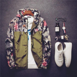 Men Hooded Jacket 2018 Autumn New Fashion Men's Floral Hooded Windbreaker Lightweightliilgal-liilgal