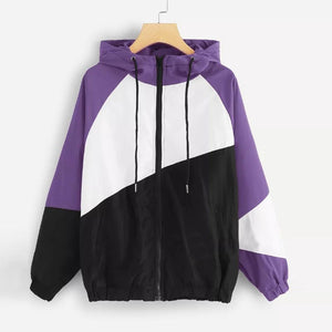 FeiTong Hooded Three Tone Windbreaker Jacket Zipper Pockets Coats And Jackets 2018liilgal-liilgal