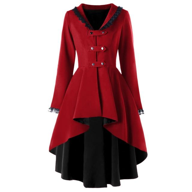 Gothic Style Lace Up High Low Women Coats 2018 New Autumnliilgal-liilgal