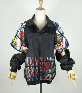 New Hollow Out Back Embroidery Bomber Jacket Sun Protection Loosen Jacket Studentliilgal-liilgal