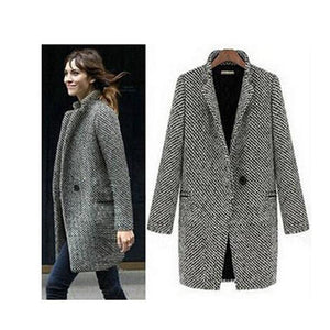 free shipping elegant women winter wool coats plus size grey warm cottonliilgal-liilgal