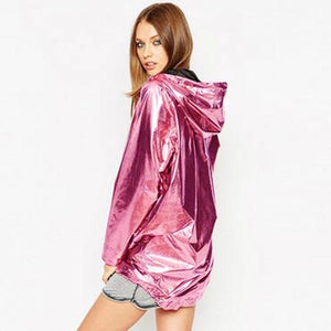 2018 New Women's Jackets Metallic Color Bomber Jacket Womens Outerwear Hooded Springliilgal-liilgal