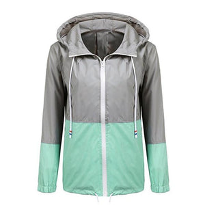 FeiTong Autumn Windbreaker Jackets Women Patchwork Hooded Jacket Female Zipper Pockets Basicliilgal-liilgal