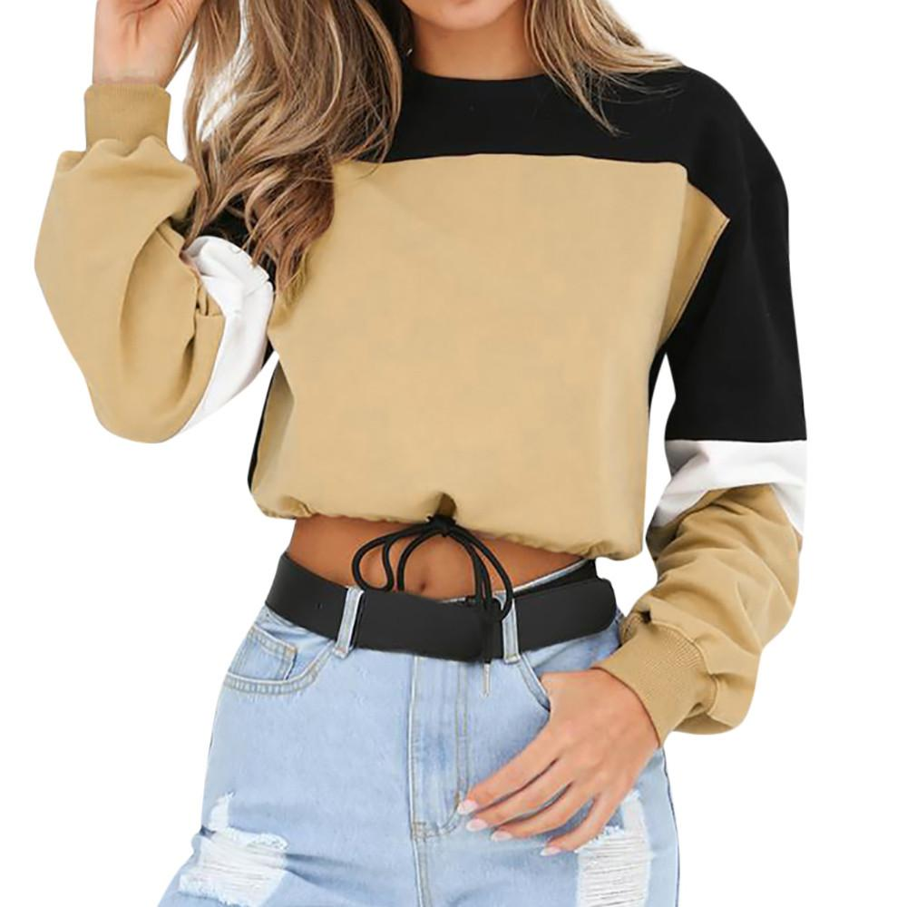 2018 New Autumn Winter Women Sweatshirts O-neck Long Sleeve Patchwork Short Pulloverliilgal-liilgal