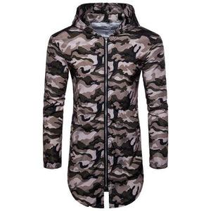2018 Men's Camouflage Casual Jacket Coat Hooded Long Cut Zipper Jacket Longliilgal-liilgal