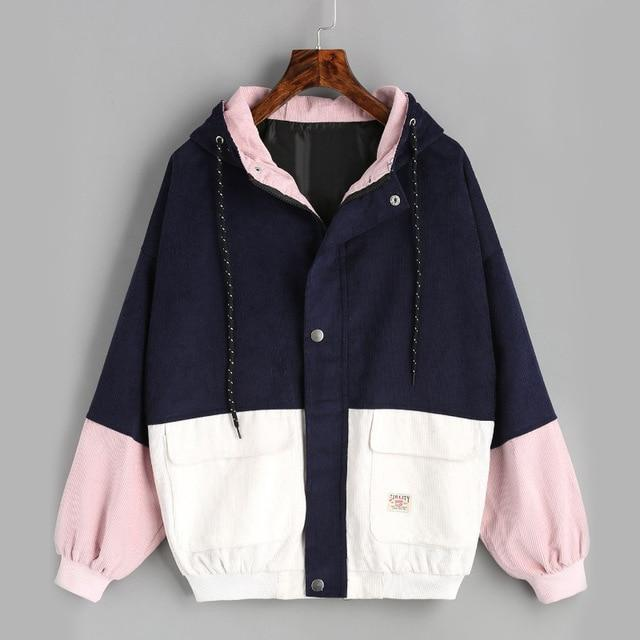 2018 Couple wear matching jacket coat new Korean female hooded corduroy baseballliilgal-liilgal