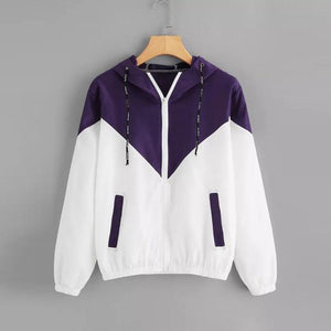 Spring Autumn Fashion Hooded Two Tone Windbreaker Jacket Zipper Pockets Casual Longliilgal-liilgal