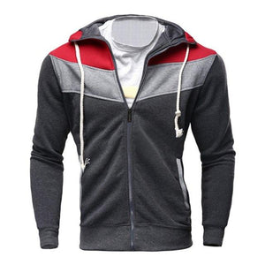 FeiTong Windbreaker Jacket Men Autumn Winter Casual Zipper Long Sleeve Splicing Hoodieliilgal-liilgal