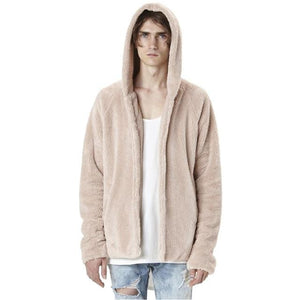 Fashion Men's Autumn Winter Casual Loose Double-sided Plush Hoodie Coat Top Solidliilgal-liilgal