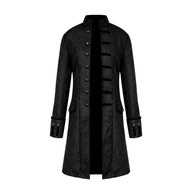 Vintage Plus Size Men Jacket Velvet Trim Steampunk Halloween Trench Jacket Longliilgal-liilgal