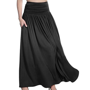 2018 Women Long Skirts Elastic Waist Pleated Maxi Skirts Beach Vintageliilgal-liilgal