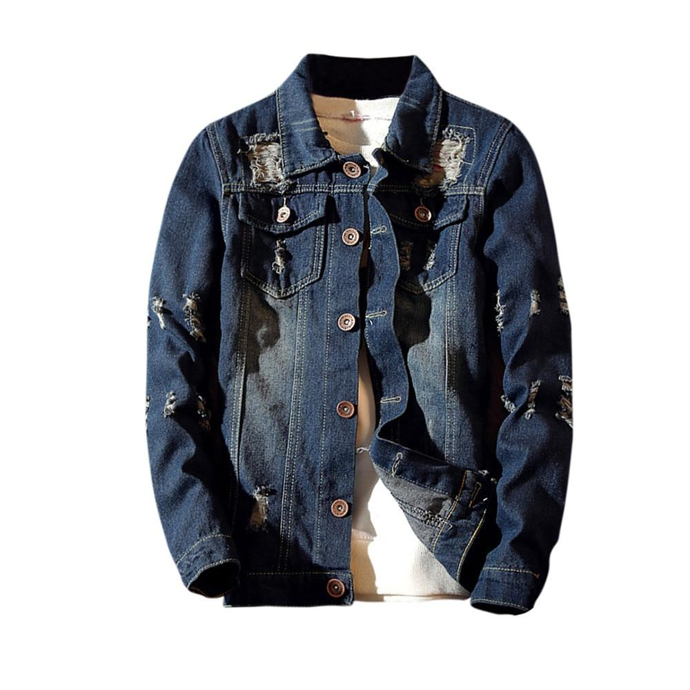 FeiTong Winter Jacket Men Streetwear Mens Clothing Casual Vintage Wash Distressed Denimliilgal-liilgal