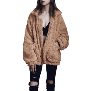 Casual Women Autumn Winter Warm Coat Solid Turn Down Collar Zipper Jacketliilgal-liilgal