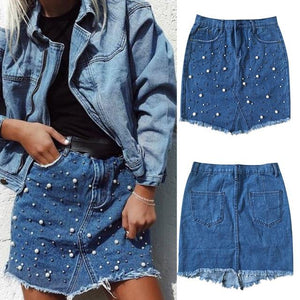Women Denim Skirts Pearl Beading Jeans Skirt Irregular High Waist Pocket Buttonliilgal-liilgal