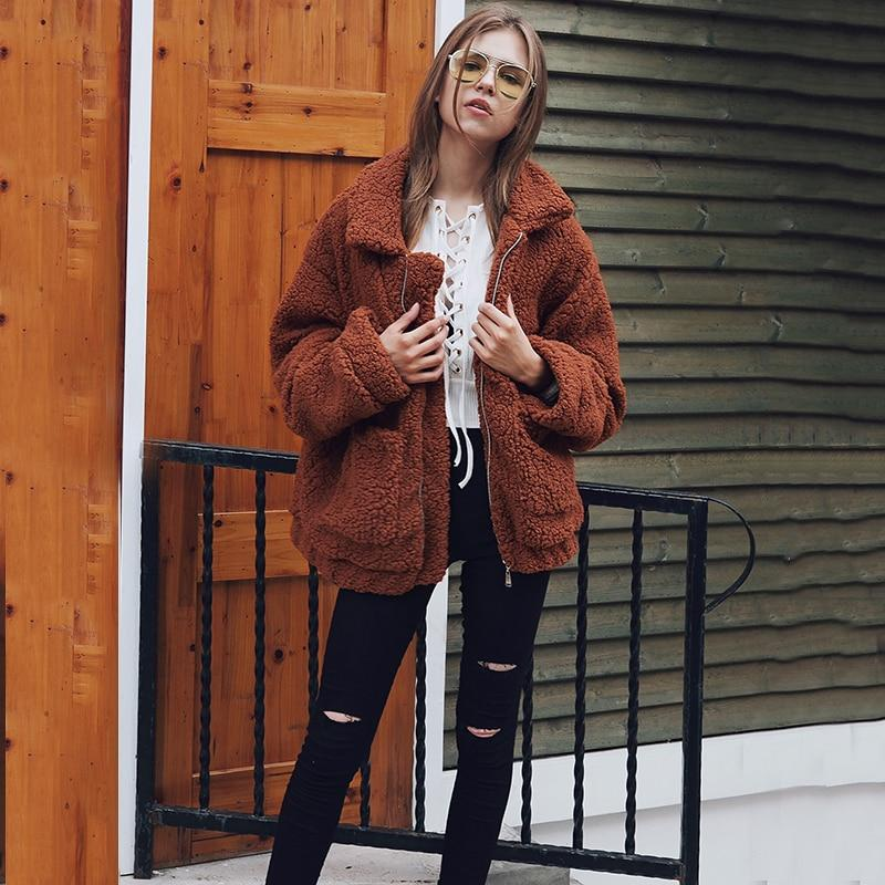 Winter Jacket Women Oversized Soft Faux Fur Autumn Basic Jackets Female Coatliilgal-liilgal