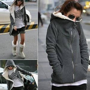 Hoodie Tops Fashion 372g Gray Up Black approx Women Zip Jacket Darkliilgal-liilgal