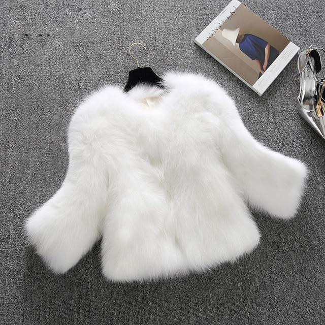 2018 Fashion Women Faux Fur Ostrich Feather Soft Fur Coat Jacketliilgal-liilgal