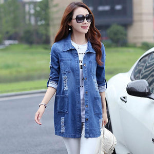 Plus Size 5XL Denim Jacket Women 2017 New Spring Autumn Fashion Longliilgal-liilgal