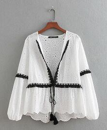 2018 Women Vintage hit color balck tassel patchwork white Kimono jacket ladiesliilgal-liilgal