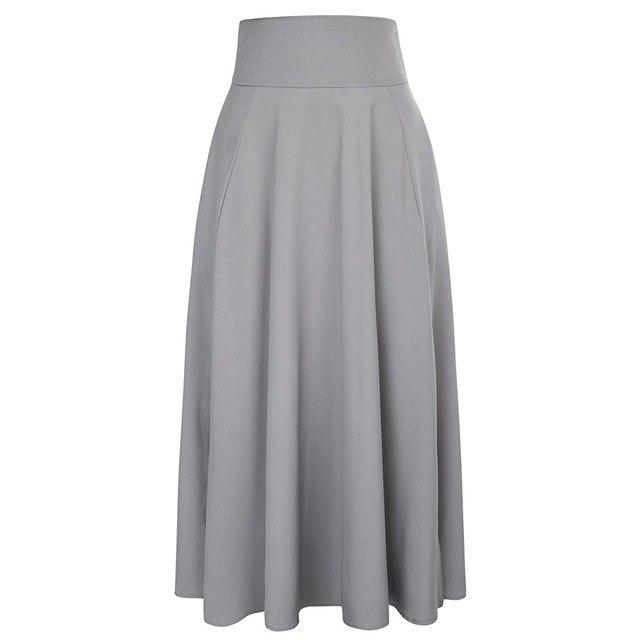 New Elegant Women High Waist Pleated A Line Long Skirt Front Slitliilgal-liilgal