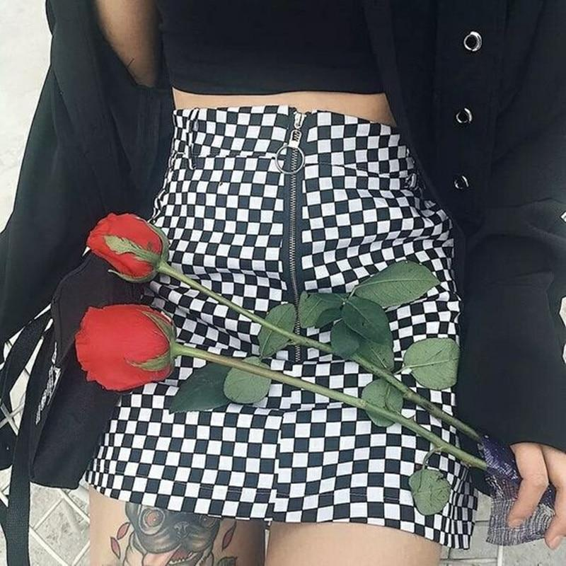 checkerboard high waist skirt 2018 summer sexy mini skirt zipper unifliilgal-liilgal