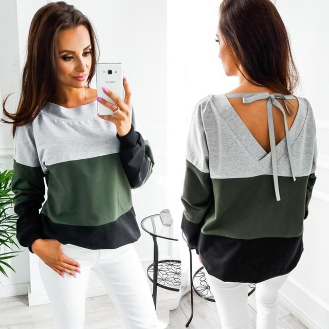 2017 Autumn Winter O-Neck Long Sleeve loose Pullovers back V collarliilgal-liilgal