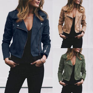 New Fashion Women Leather Jacket Cardigan Coat Spring Autumn Lady Casual Coatsliilgal-liilgal