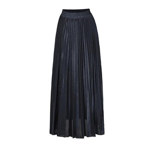 2018 New Summer Suede Skirt gold silver Long striped elasticity Pleated Skirtsliilgal-liilgal