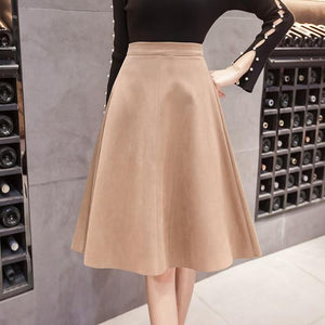 Women Empire Pleated Skirts Faldas Saia Female Knee-Length Skirt Jupe Spring Autumnliilgal-liilgal