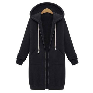 Hot Sale New Winter Warm Womens Casual Zipper Open Hoodies Long Coatliilgal-liilgal