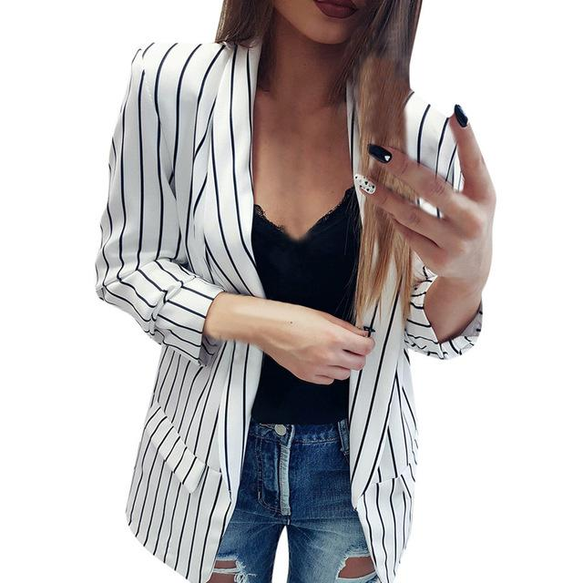 2018 Autumn Suit Women's New Casual Black and White Striped Coats Topliilgal-liilgal