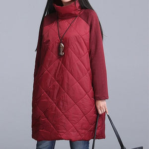 2018 New women jacket coat Warm Winter Parkas Patchwork Ropa Mujer Turtleneckliilgal-liilgal