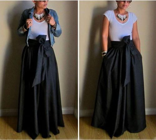 Vintage Women Stretch High Waist Belt Flared Pleated Swing Long Maxi Skirtliilgal-liilgal