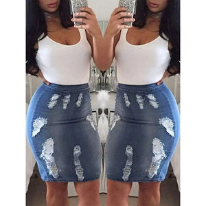 Women High Waist Bodycon Stretchy Pencil Skirt Knee-Length Denim Jeans Skirtsliilgal-liilgal