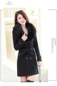 2018 Winter Womens Double Breasted Big Fur Collar Plus Size thick girlliilgal-liilgal