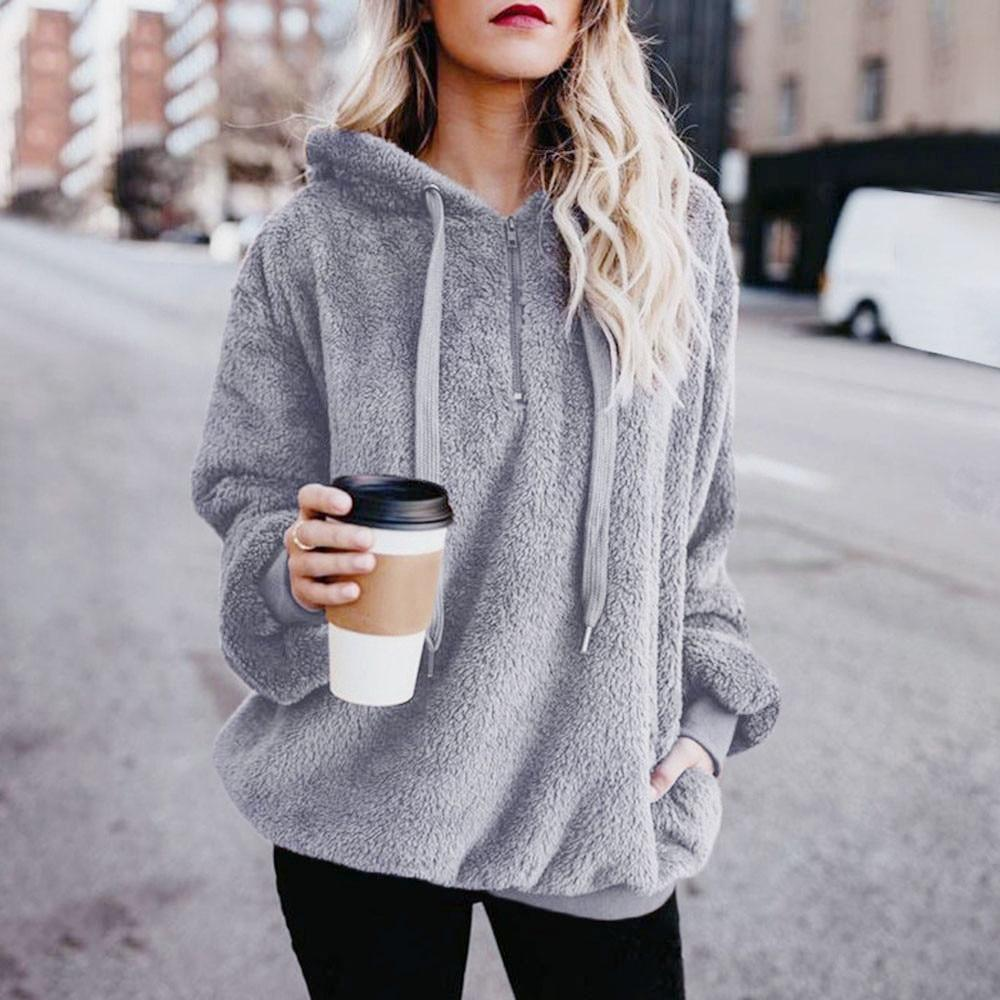 2018 Hot Sale Fashoin Womens Sexy Solid Fluffy Winter Top Hoodiesliilgal-liilgal