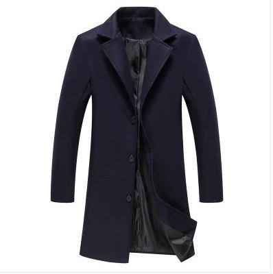 Autumn Winter Men's Single Breasted Trench Coat Turn Down Collar Fashionliilgal-liilgal
