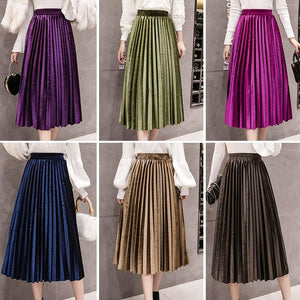 Autumn Winter Women Velvet Skirt Empire Skinny Large Swing Long Pleated Skirtsliilgal-liilgal