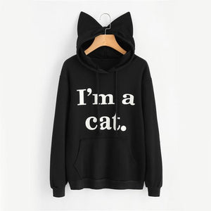 Women Pullovers Hoodies Letter Print Spring Autumn Cat Ears Hooded Fashionliilgal-liilgal